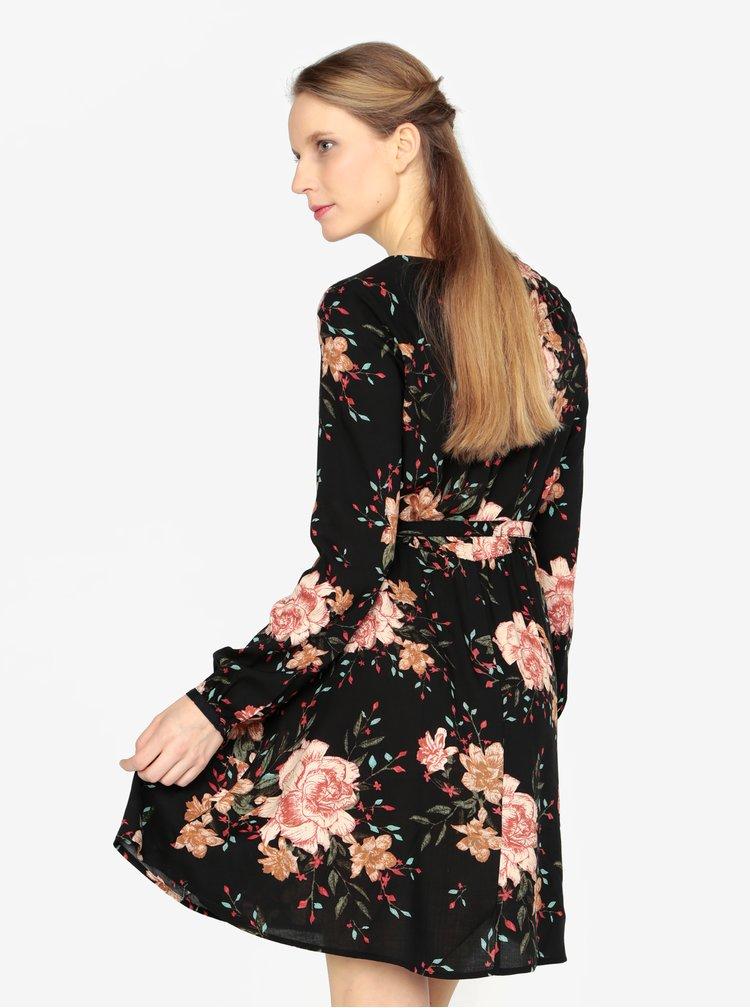 Rochie neagra cu decolteu suprapus si print floral - VERO MODA Simply