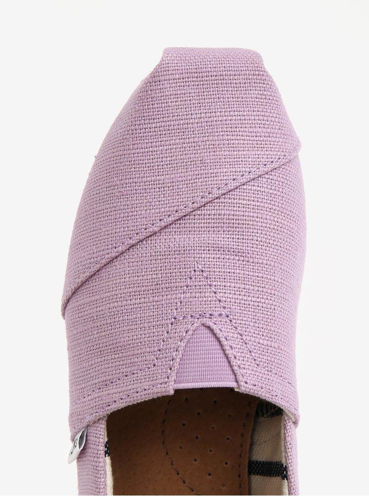 Espadrile mov cu insertie elastica si logo pentru femei - TOMS
