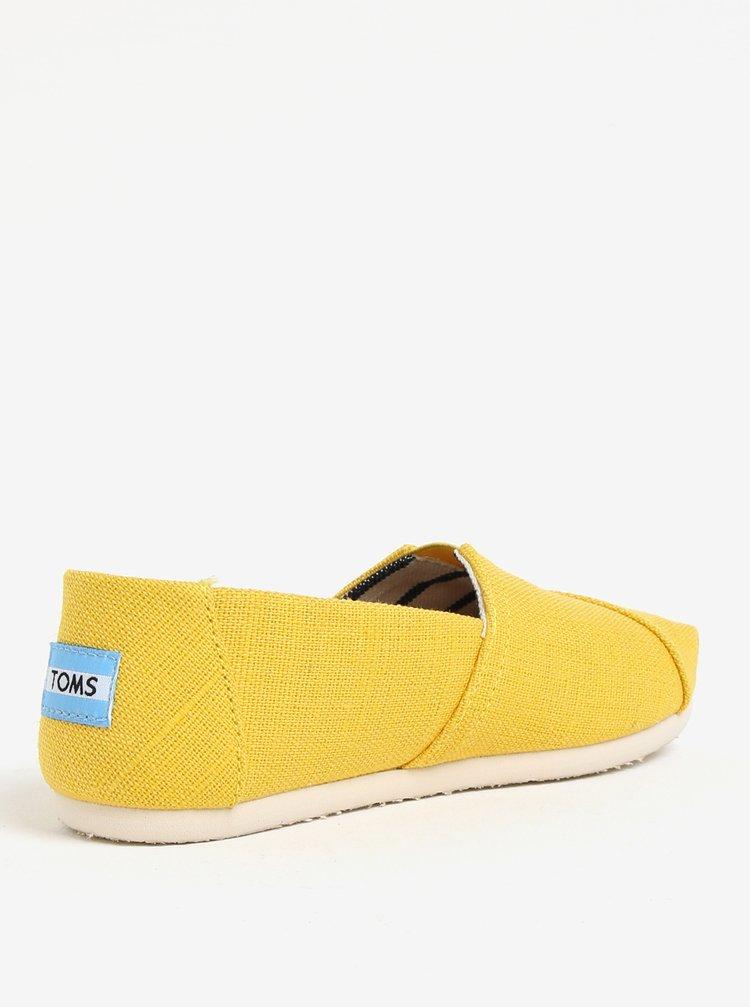 Espadrile galbene cu insertie elastica si logo pentru femei - TOMS