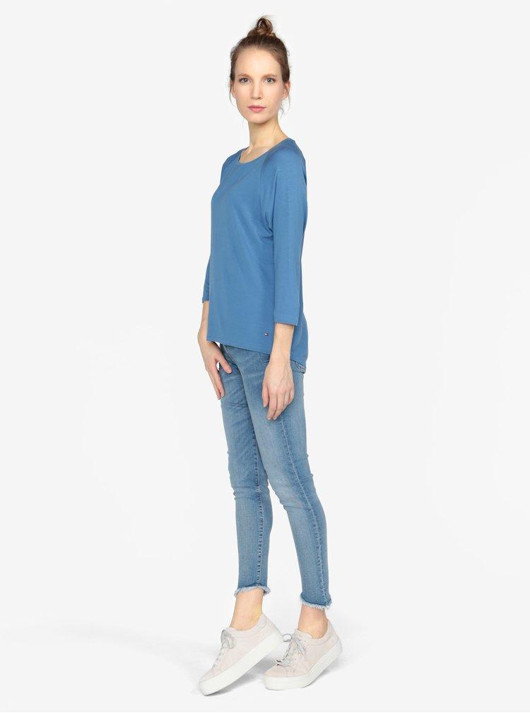 Modré basic tričko s 3/4 rukávem Tommy Hilfiger