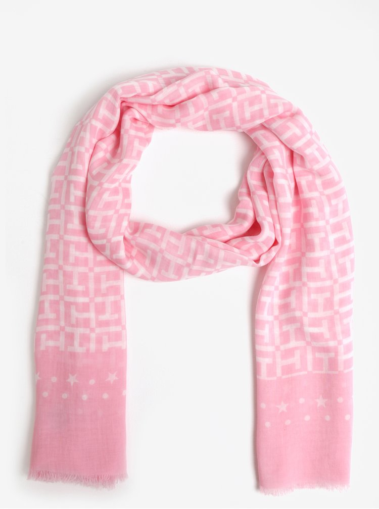 Růžový vzorovaný šátek Tommy Hilfiger