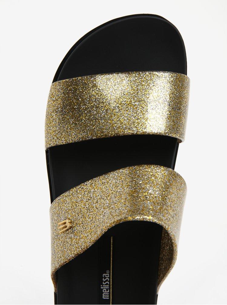 Třpytivé pantofle s pásky ve stříbrno-zlaté barvě Melissa Cosmic