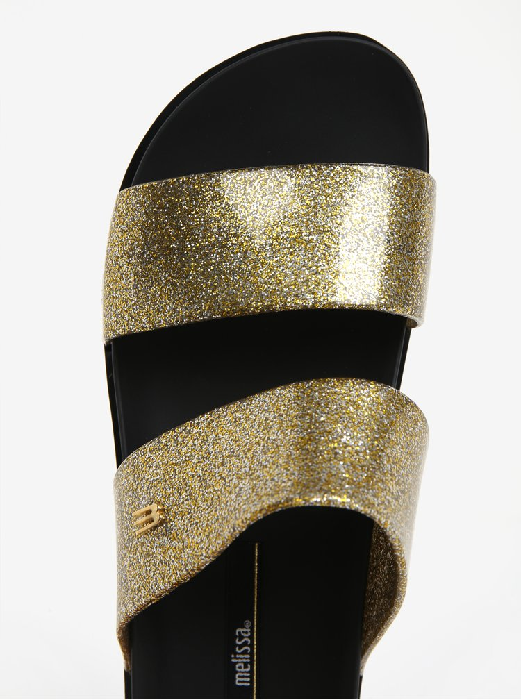 Papuci negri cu barete stralucitoare  Melissa Cosmic