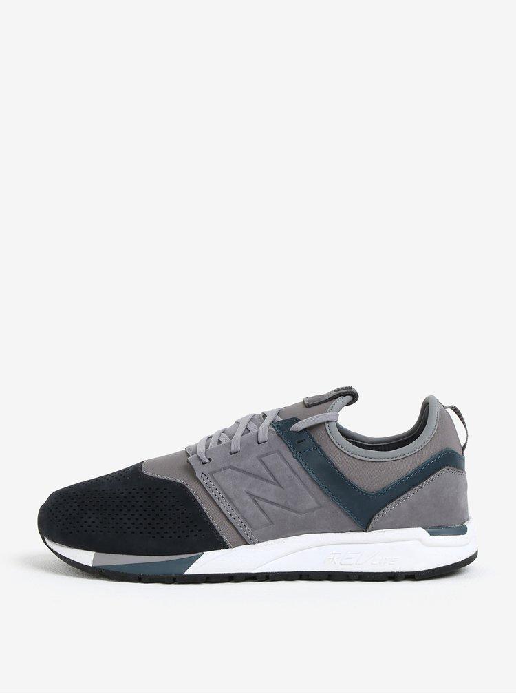 Pantofi sport gri din piele intoarsa pentru barbati New Balance MRL247
