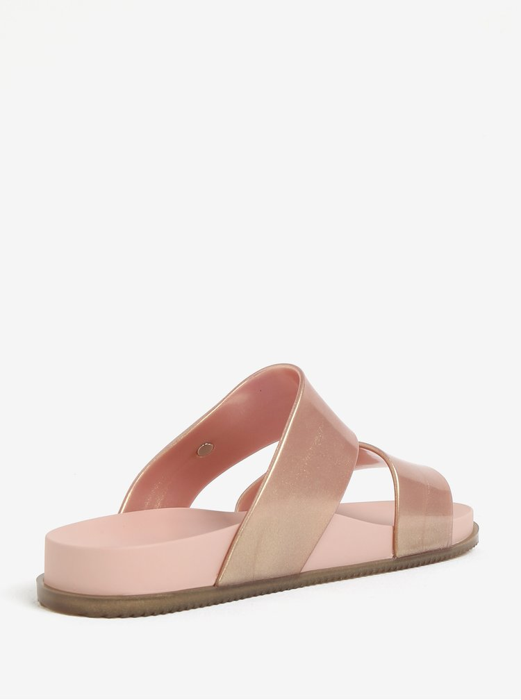 Třpytivé pantofle v růžovozlaté barvě Melissa Cosmic