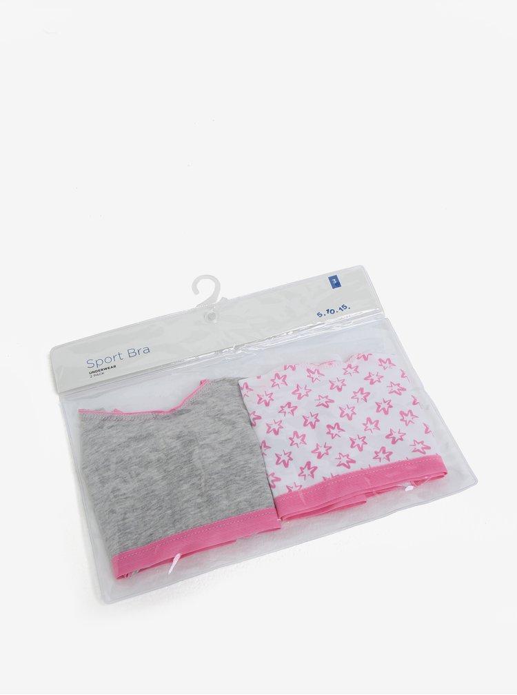 Sada dvou holčičích vzorovaných podprsenek v šedé a růžové barvě 5.10.15.