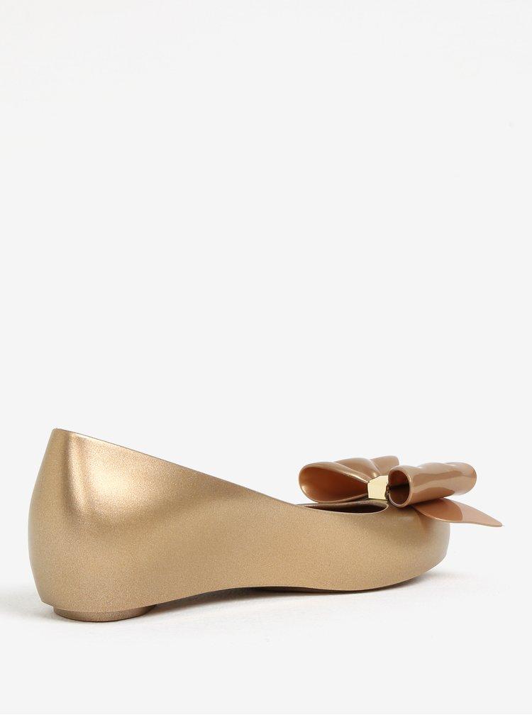 Třpytivé baleríny s mašlí ve zlaté barvě Melissa Ultragirl Sweet