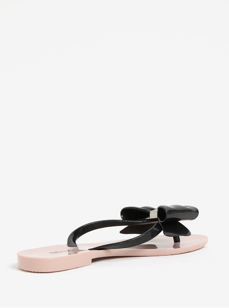 Růžovo-černé žabky s mašlí na špičce Melissa Harmonic