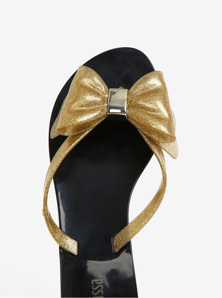 Žabky s mašľou na špičke v čierno-zlatej farbe Melissa Harmonic