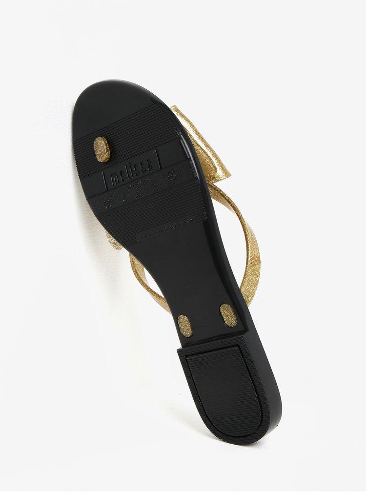 Žabky s mašlí na špičce v černo-zlaté barvě Melissa Harmonic