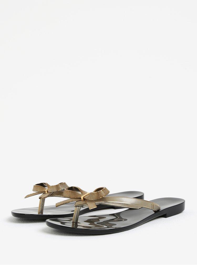 Žabky s mašlí na špičce v černo-zlaté barvě Melissa Harmonic Chrome