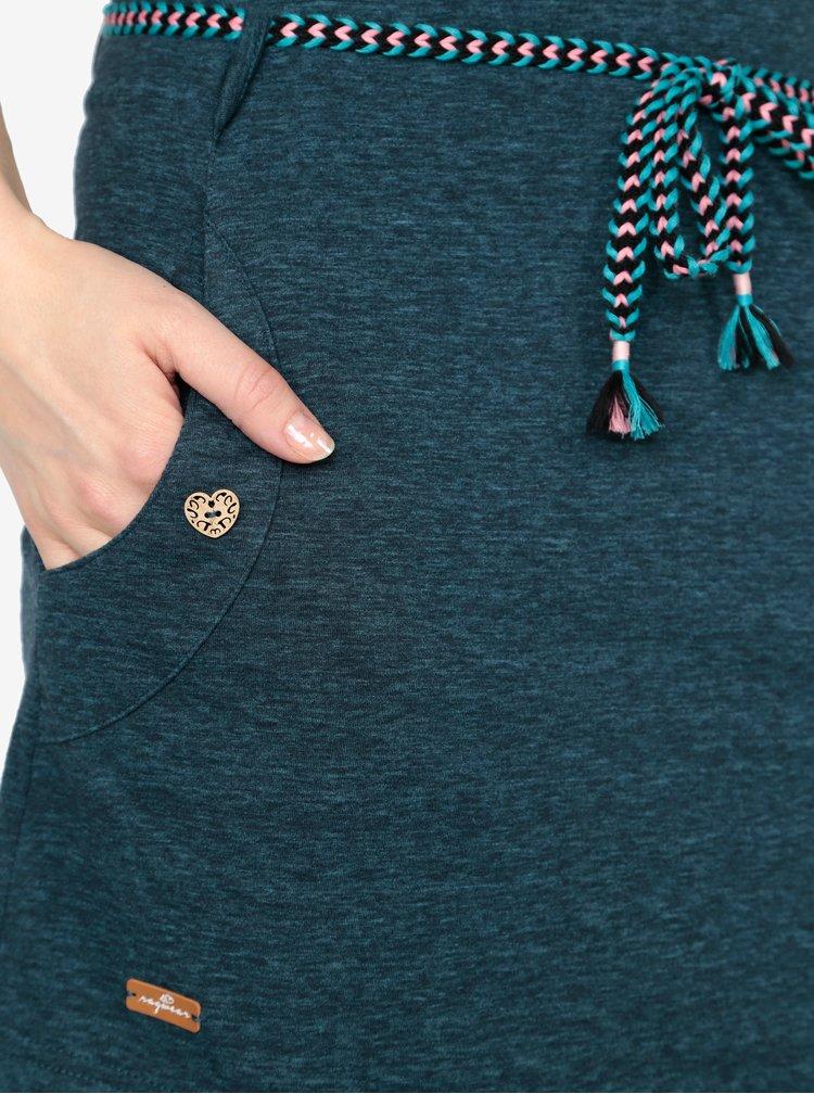 Tmavě modré žíhané šaty s páskem Ragwear Tag