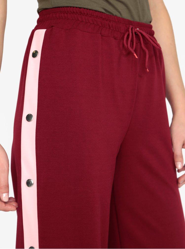 Pantaloni culottes bordo cu dungi contrastante si capse - MISSGUIDED