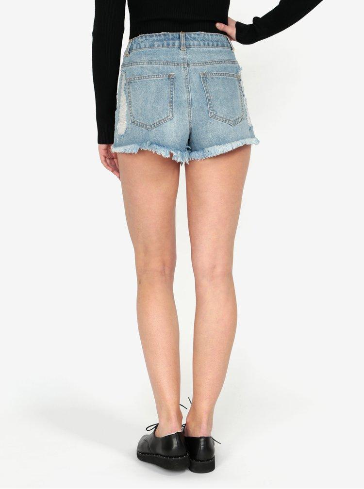 Modré džínové kraťasy s potrhaným efektem a vysokým pasem MISSGUIDED