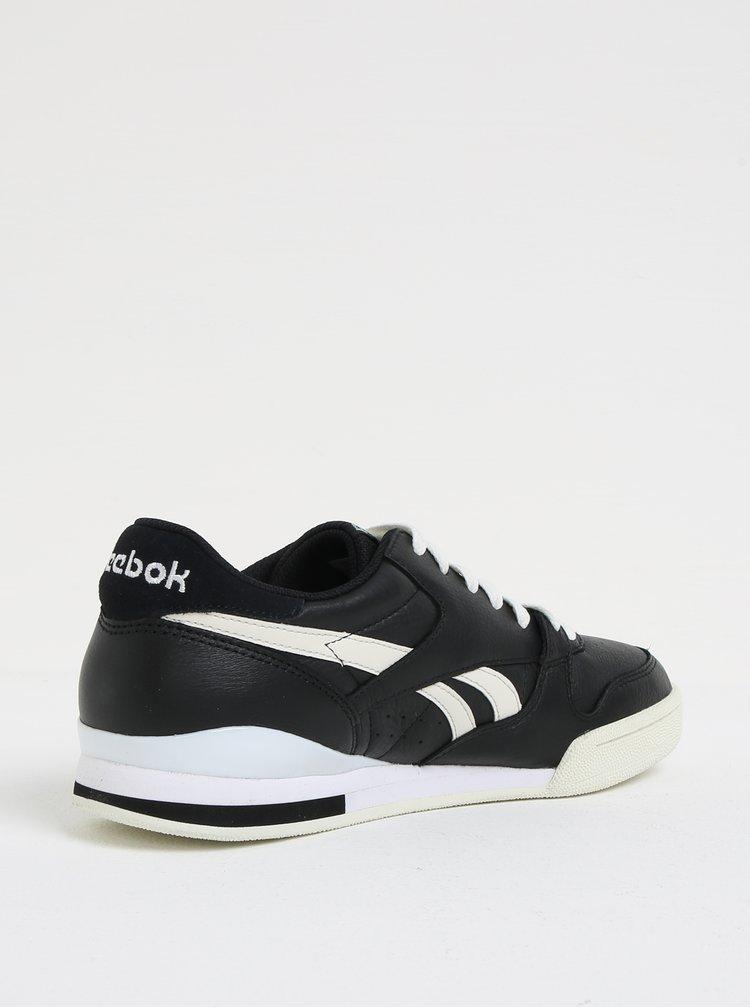 Pantofi sport alb-negru din piele pentru barbati  Reebok Phase 1 Pro