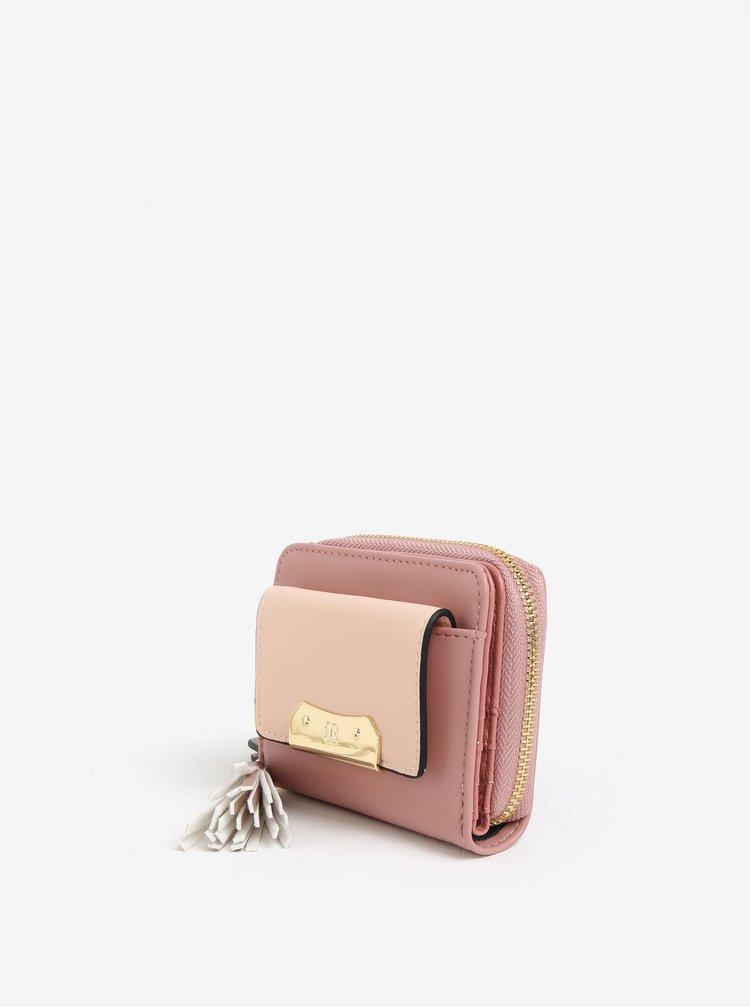 Ružová peňaženka so strapcom a detailmi v zlatej farbe Bessie London