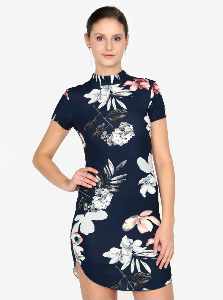 Tmavě modré pouzdrové květované šaty AX Paris