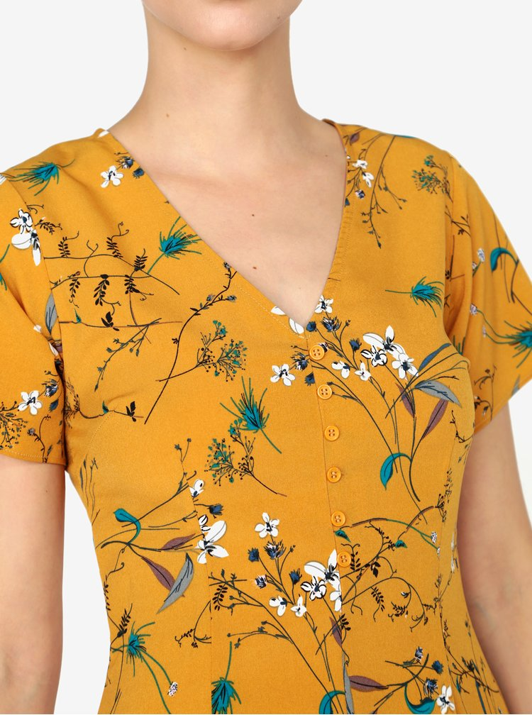 Hořčicové květované minišaty s krátkým rukávem MISSGUIDED