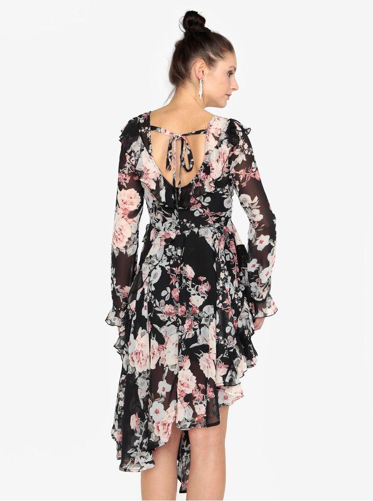 Černé šaty s dlouhým rukávem a volány MISSGUIDED
