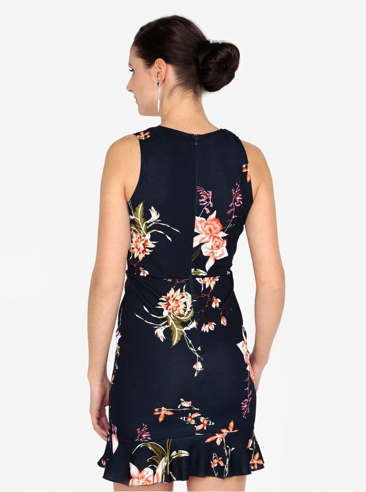 Tmavě modré květované šaty s véčkovým výstřihem AX Paris
