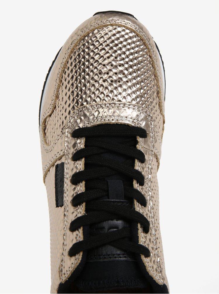 Dámské kožené metalické tenisky ve zlaté barvě Woden Ydun Metallic