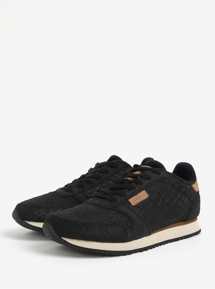 Černé dámské kožené tenisky s plastickým vzorem Woden Ydun Croco