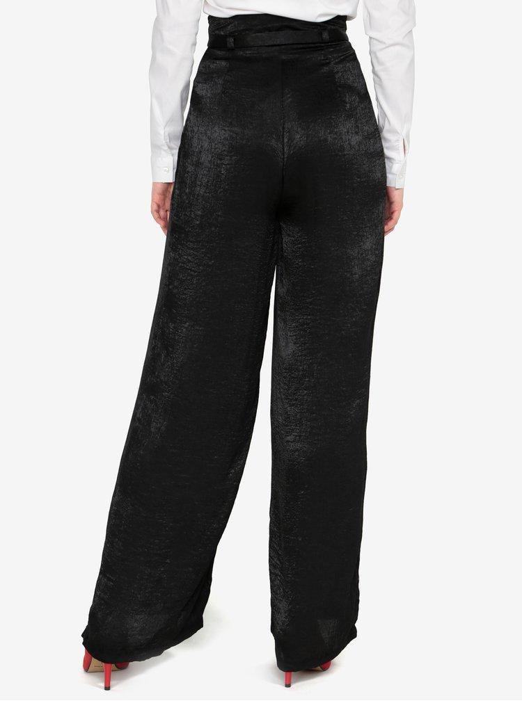 Čierne saténové voľné nohavice s opaskom a vysokým pásom MISSGUIDED