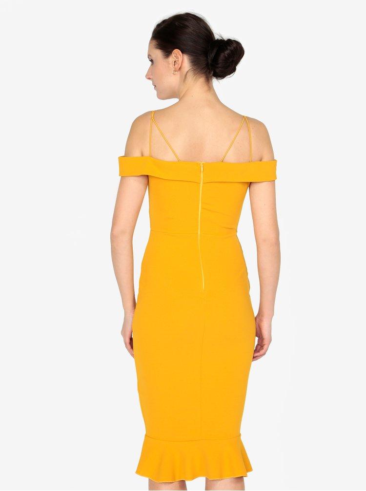 Hořčicové pouzdrové šaty s odhalenými rameny AX Paris