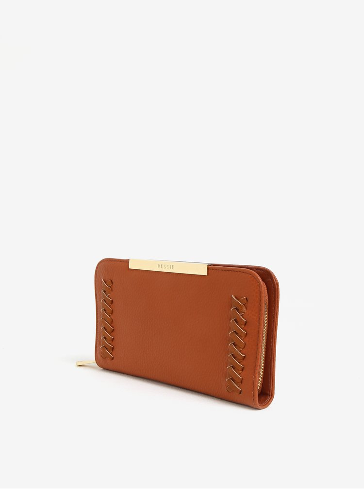 Světle hnědá peněženka s prošívanými detaily Bessie London