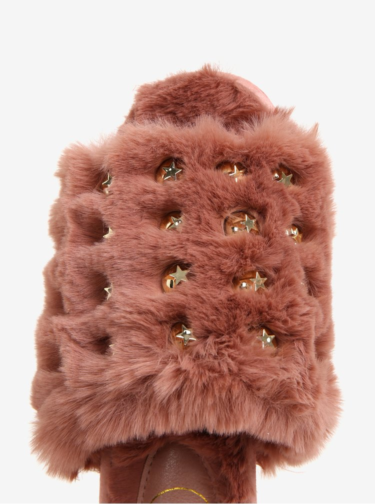 Světle růžové  pantofle s umělou kožešinkou MISSGUIDED
