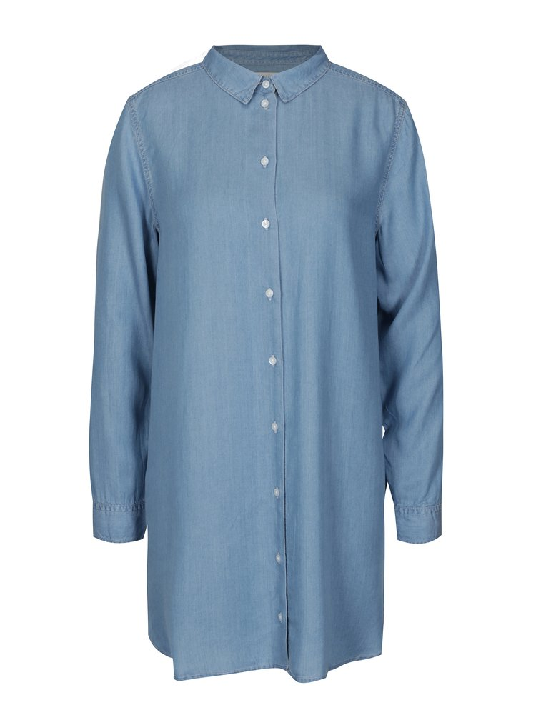 Camasa asimetrica albastra din denim Selected Femme Ines