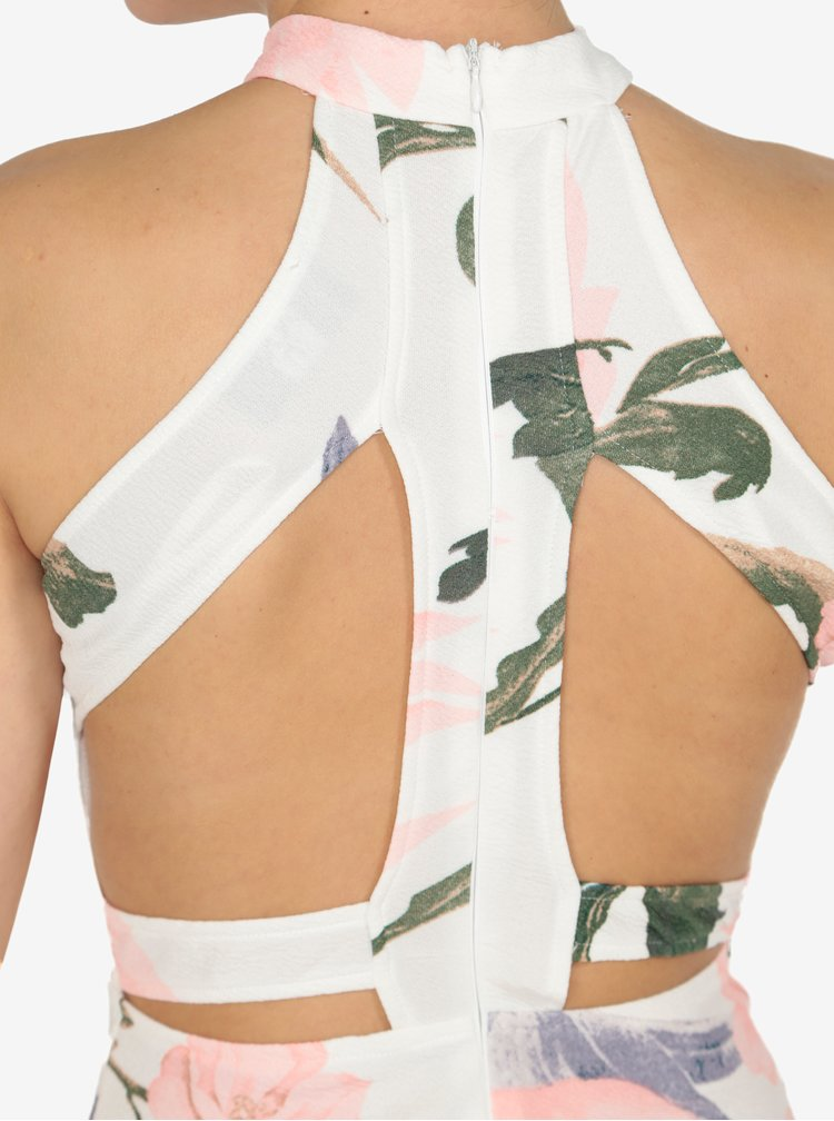 Krémové květované pouzdrové šaty s průstřihy na zádech AX Paris
