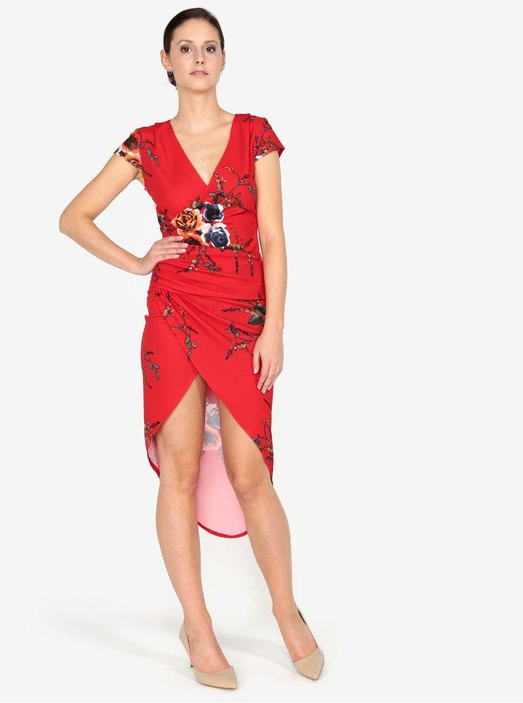 Červené květované asymetrické šaty AX Paris