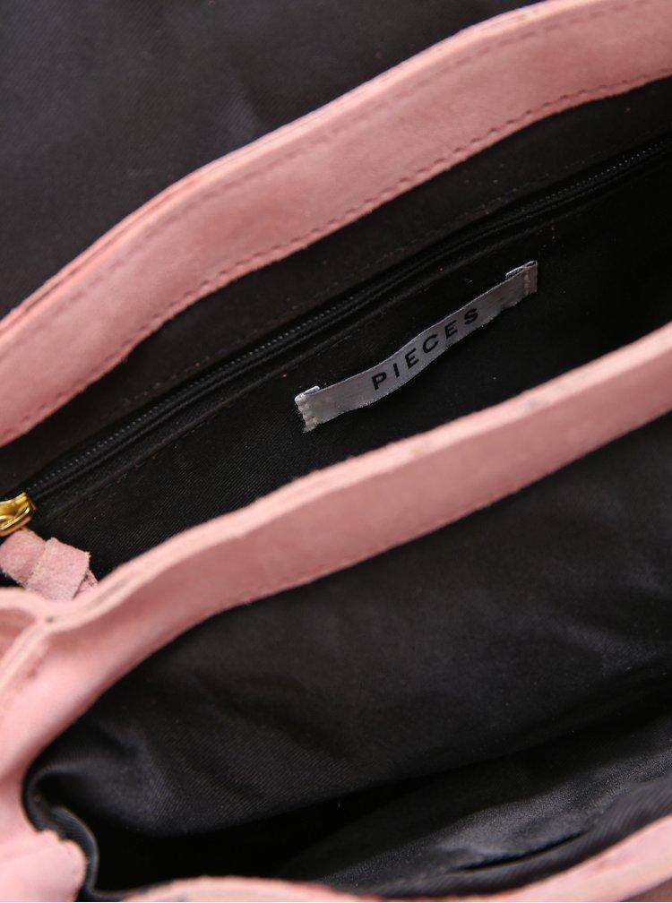 Růžová semišová crossbody kabelka Pieces Leana