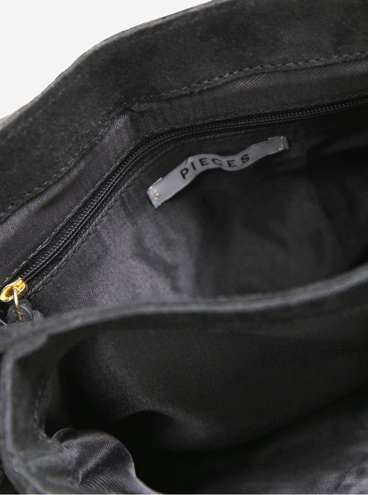 Černá semišová crossbody kabelka Pieces Leana