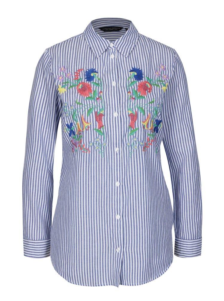 Camasa alba cu dungi si broderie florala - Dorothy Perkins