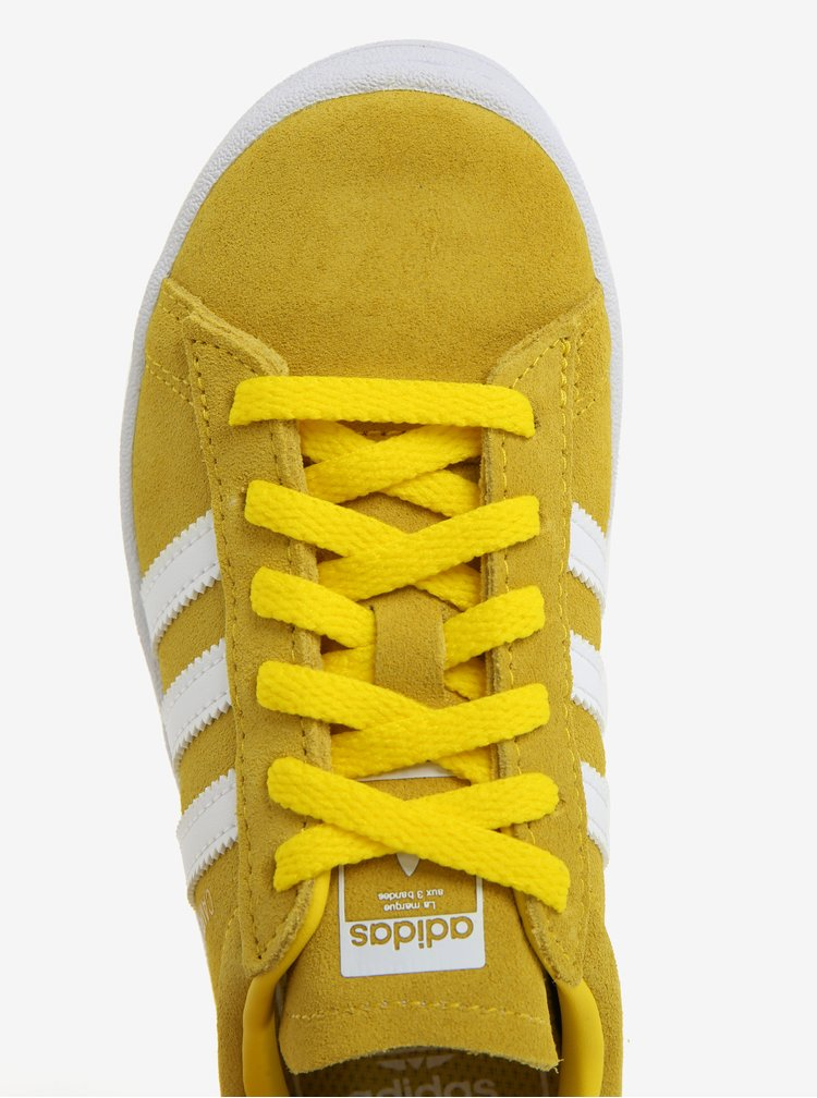 Hořčicové dětské semišové tenisky adidas Originals CAMPUS C