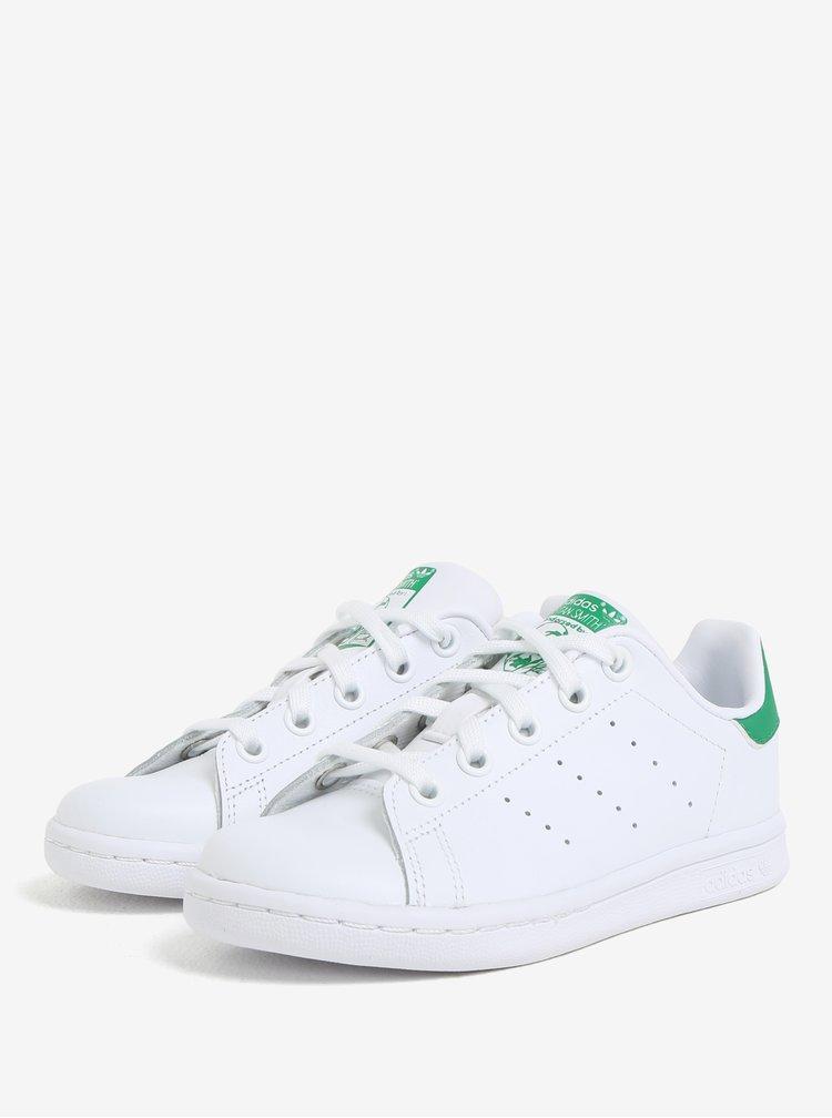 Zeleno-bílé dětské kožené tenisky adidas Originals Stan Smith C