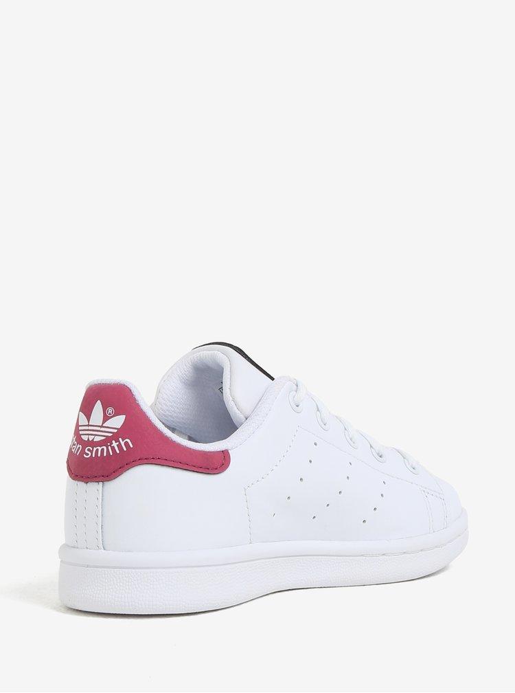 Růžovo-bílé dětské kožené tenisky adidas Originals Stan Smith C
