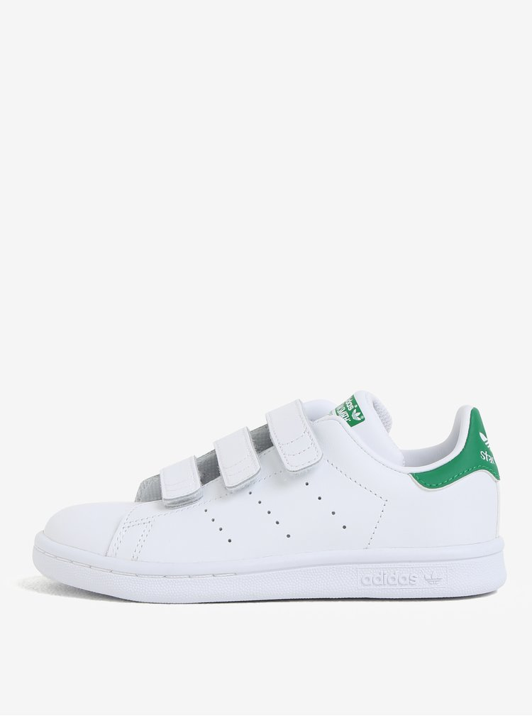 Bílé dětské kožené tenisky na suchý zip adidas Originals Stan Smith Cf C