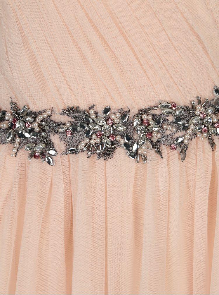 Rochie asimetrica roz cu banda decorativa Little Mistress