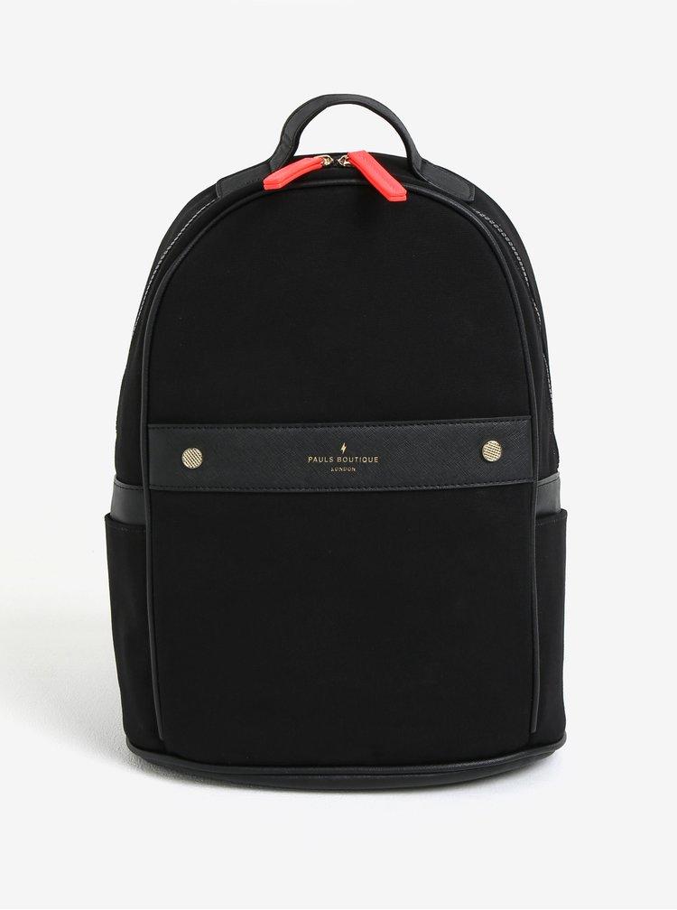 Černý batoh s koženkovými detaily Paul´s Boutique Rosa