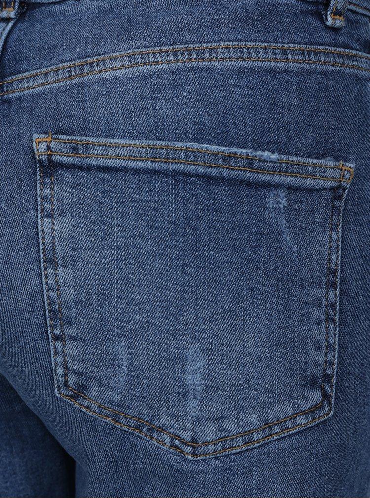 Zkrácené modré mom džíny s vysokým pasem a výšivkou Dorothy Perkins