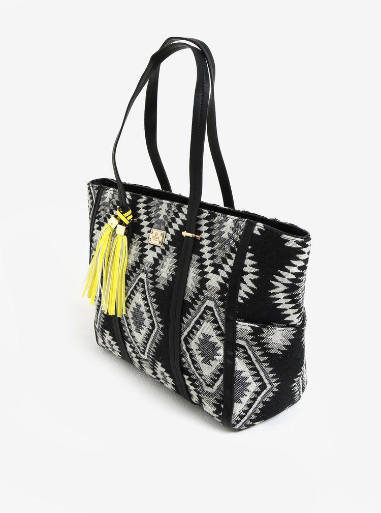 Geanta shopper neagra cu model aztec  Bessie London