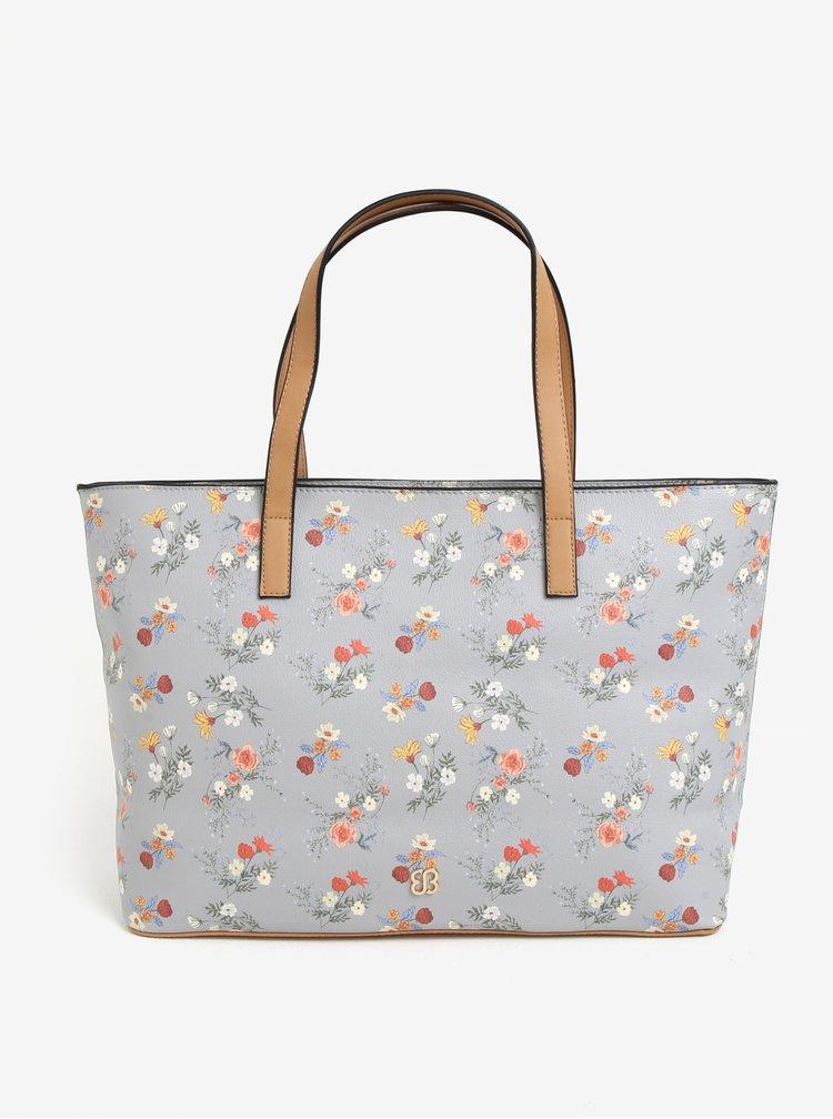 Geanta shopper gri cu print floral Bessie London
