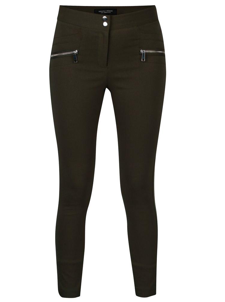 Pantaloni skinny fit kaki cu fermoare - Dorothy Perkins