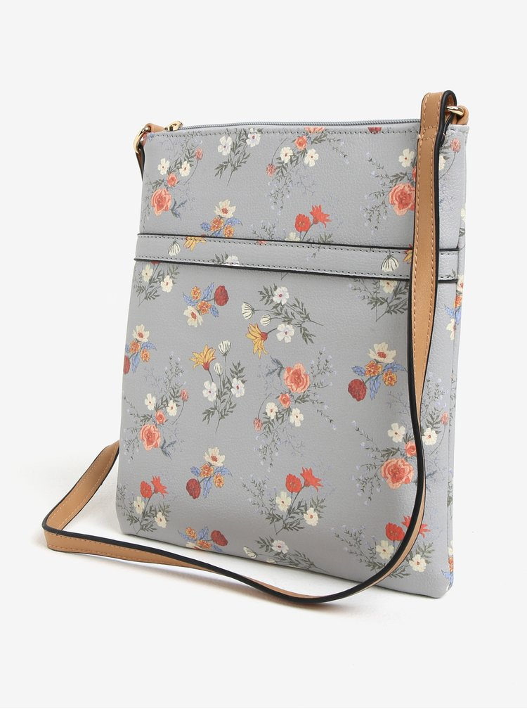 Geanta crossbody gri cu print floral Bessie London