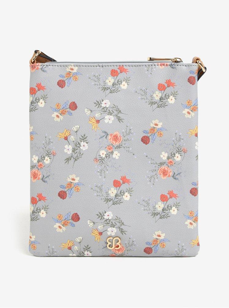 Sivá kvetovaná crossbody kabelka Bessie London