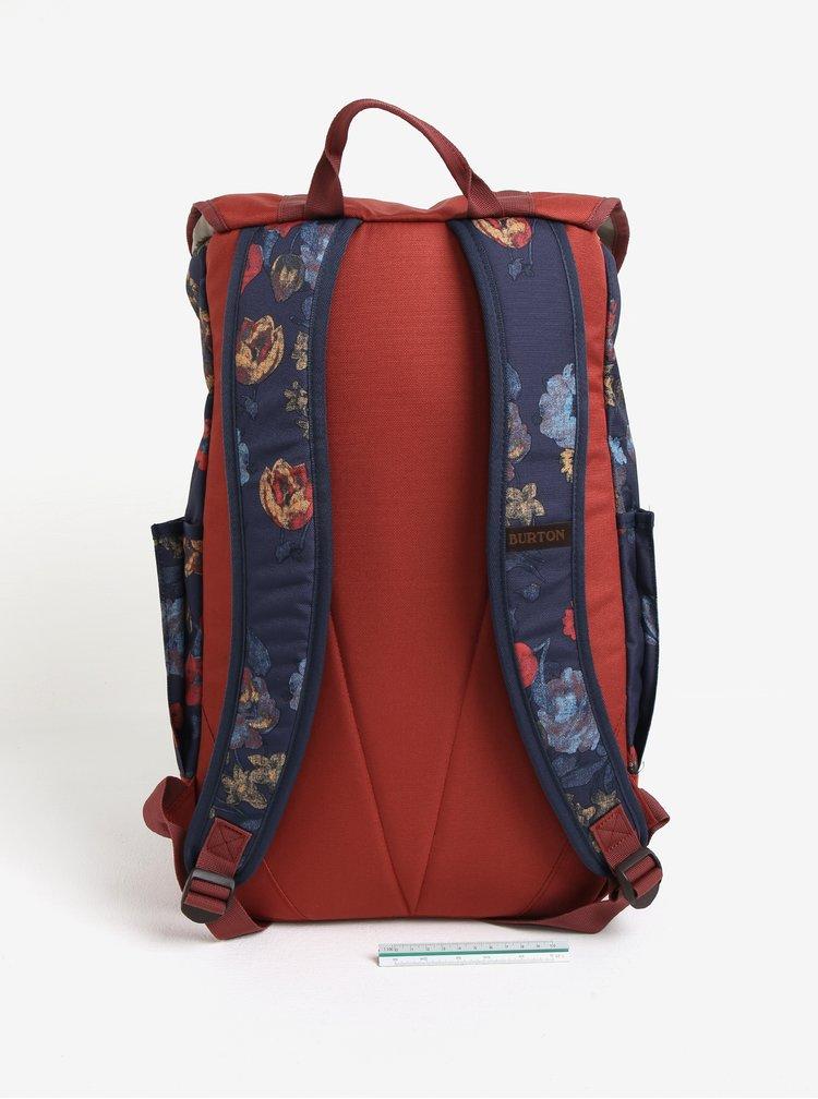 Cihlovo-modrý dámský květovaný batoh Burton Outing 23 l
