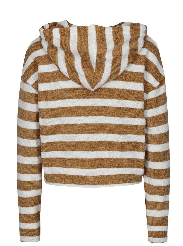 Bílo-hnědý pruhovaný crop svetr s kapucí TALLY WEiJL
